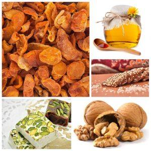 سوغات خوانسار - برگه زرآلو - لواشک - گردو